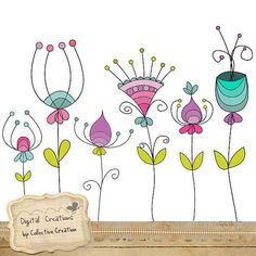 Doodle Flowers Digital Clipart Set   Perfect by CollectiveCreation, $4.00