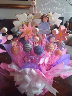 Arreglos De Mesa Baby Shower | Arreglo de Galletas, Cake Pops y Masmelos para la Primera Comunión de ...