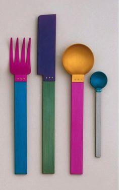 Home Decor Objects Ideas & Inspiration : David Tisdale Picnic Flatware for Sasaki 1986 Gadgets, Vintage Design, Deco Design, Art Furniture, Color Inspiration, Flatware, Decoration, Home Accessories, Sweet Home