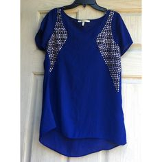 Navy Blue Sheer top Never been worn! Navy blue sheer too with embellishments. Super cute perfect for any occasion. From Francescas Francesca's Collections Tops Blouses