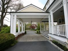Porte cochere instead of garage? Maybe Would need to blend. The name alone is fancier than our house exterior. House, Victorian Homes, Shingle Style, House Exterior, Carport Designs, Exterior Design, Porte Cochere, Carport Garage, Carport Addition