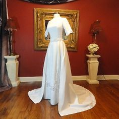 Vintage 60s White Linen Wedding Dress with Chapel by TheLastCurtsy, $175.00