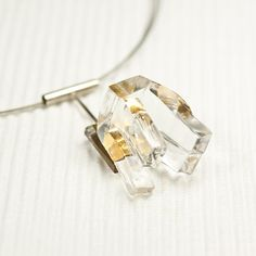 Glass sterling silver gold steel wire necklace by belnavarro, $89.00