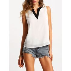 White Sleeveless Contrast V Neck Chiffon Blouse (805 INR) ❤ liked on Polyvore featuring tops, blouses, white, white top, white blouse, white chiffon blouse, sleeveless tops and sleeveless collared blouse