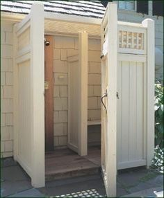 Walpole Outdoors Enclosures Custom Shower Enclosure - Here's a refreshing idea for summer. Have fun creating a shower enclosure customized to match your home or pool house architecture. Consider construction in cellular vinyl or cedar; options such as lattice panels, ceilings, post caps, choices in hinges,