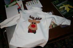"""The """"boy"""" version of the reindeer shirt.  Just add a bowtie and you have the perfect little boy Christmas shirt."""