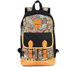 Canvas Bookbag Daypack Backpack Laptop Bag for School College Teens Girls Boys Students, Pattern B Generic