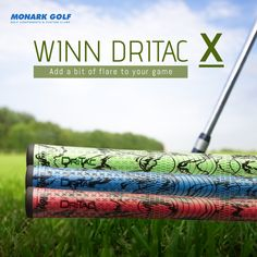 Add some flare to your game! With a new extreme, bold style and modified design,Winn DriTac X Standard Green/Black Golf Grips retains the performance. Find the perfect golf grip to improve your golf game. Shop Now! Famous Golfers, Womens Golf Wear, Game Bit, Bend At The Waist, Golf Club Grips, Golf Putting Tips, Perfect Golf, Bold Fashion, Ladies Golf