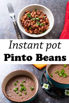 Instant pot pinto beans by Binky's Culinary Carnival are incredibly fast and easy! This delicious recipe goes great with all of your favorite Mexican foods. And they have so much more flavor than store-bought refried beans. Give them a try this Cinco de Mayo! Mexican Dishes, Mexican Food Recipes, New Recipes, Holiday Foods, Holiday Recipes, Vegetarian Tacos, Pinto Beans, Fresh Fruits And Vegetables, Refried Beans