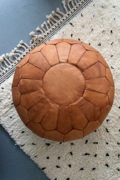 This authentic Ottoman pouf & Footstool is made of genuine natural leather. Delivered Stuffed and Shipped for Free. Pouf Footstool, Leather Pouf Ottoman, Ottoman Decor, Diy Ottoman, Moroccan Pouf, Moroccan Decor, Floor Pouf, Floor Cushions, Pouf Design