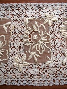 Antique Lace PLACEMAT Doily Tray Cloth French Normandy EMBROIDERED Table Center  #handmade