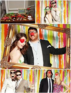 Photo Booth (props: glasses, boas, mustaches, hats, eye patches, giant frame, chalkboard, crowns, maradi gras beads, wigs)