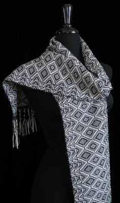 Handwoven Scarf Silk Wool Cashmere Scarf  Aztec by FiberFusion, $98.00