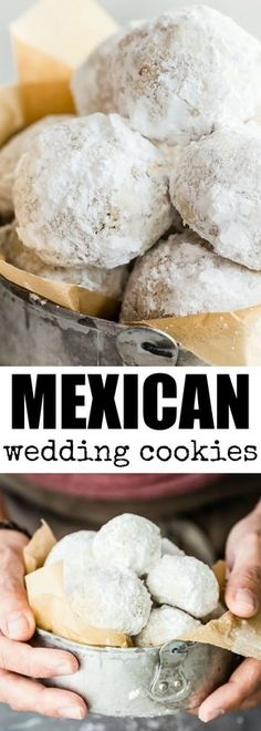 These easy Mexican Wedding Cookies have walnuts in the dough and are rolled in powdered sugar so they look exactly like snowballs. Cookie Desserts, Just Desserts, Cookie Recipes, Delicious Desserts, Dessert Recipes, Icing Recipes, Freezer Recipes, Freezer Cooking, Holiday Desserts
