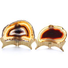 Hongjiantian 2pcs Crystal Natural Sliced Agate Slab Coasters Agate Slice Avg63 to 67Inches -- Be sure to check out this awesome product.