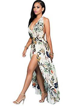27ed2cb843 Women s V Neck Halter Floral Maxi Dress Overlay Romper Ju... https