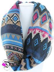 Aztec Print Infinity Scarf $12.99 Divalicious Color Combinations, Aztec, Infinity, Scarves, Gloves, Boutique, Winter, Pattern, Fashion