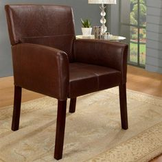InRoom Designs Leather Accent Chair – Brown - AC7228