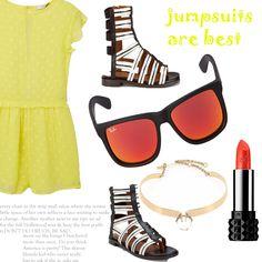 Look # 23-Jumpsuit-Gladiator Sandals-Sunglasses-Necklace