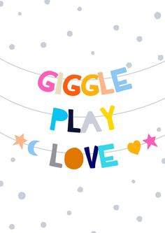 Giggle Play Love quote wall sticker  Just peel by WondermadeDecals
