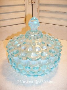 Fenton Blue Opalescent Hobnail Candy Dish With Lid Mint Condition