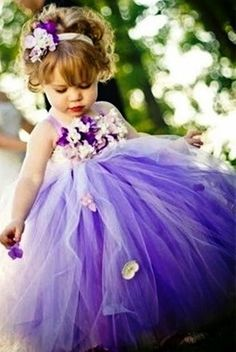 Flower girl's Purple flower crown Toni Kami ❀Flower ❀ Girls❀ Corona halo wedding hair flowers tutu