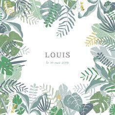 Une luxuriante forêt tropicale étend son ombre sur le faire-part de naissance Jardin tropical photo. Votre faire-part au format carré s'enorgueillit ...