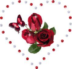 Rosas dentro de corazón brillante