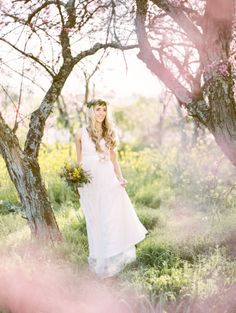 Spring wedding with a blush wedding dress and flower crown!