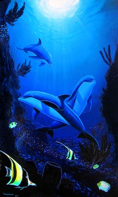 Life in the Living Sea by Wyland - Dolphins in the Ocean