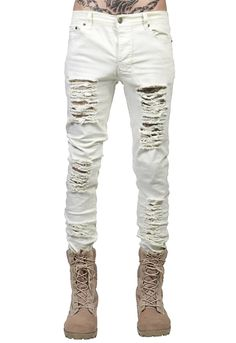 baf3ee4e98b 2017 New Men s Long Classic Holes Jeans Black White Straight Leg Slim  Casual Denim Pants Trousers
