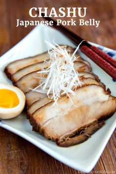 Chashu (japanese pork belly) - learn how to make easy, melt-in-mouth chashu pork belly recipe at home! braised in a sweet and savory sauce, Pork Belly Recipes, Ramen Recipes, Asian Recipes, Cooking Recipes, Hawaiian Recipes, Power Bowl, Healthy Japanese Recipes, Japanese Food, Japanese Meals