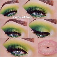 Makeup Eye Looks, Halloween Makeup Looks, Eye Makeup Tips, Halloween Halloween, Vintage Halloween, Halloween Costumes, Colorful Eye Makeup, Makeup For Green Eyes, Colorful Eyeshadow