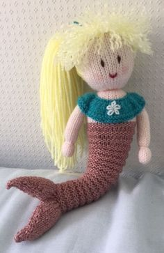 Hand knitted mermaid doll by DreamDollies on Etsy