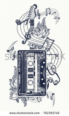 Audio cassette, guitar music notes tattoo and t-shirt design. Retro music, nostalgia, 80th and 90th. Old audio cassette, roses flowers and music notes, guitar, symbol of rock music t-shirt design