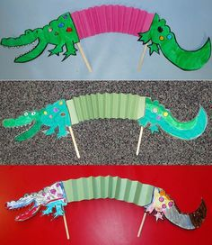 Create And Craft, Crafts To Make, Crafts For Kids, Arts And Crafts, Paper Crafts, Crocodile Craft, Crocodile Party, Roald Dahl Activities, The Enormous Crocodile