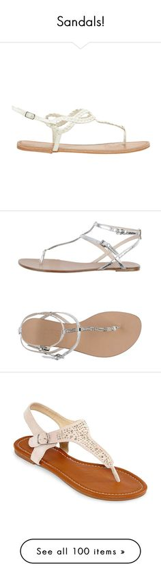 """""""Sandals!"""" by katie544 ❤ liked on Polyvore featuring shoes, sandals, white, rubber shoes, t-bar sandals, woven sandals, woven shoes, white strappy sandals, flats and sapatos"""