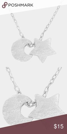 "Textured Star & Crescent Moon Necklace • Color : Silver • Theme : Star  • Necklace Size : 16"" + 2"" L • Pendant Size : 7 X 7 mm, 7 X 7 mm • Textured matte metal star & crescent moon pendant necklace Jewelry Necklaces"