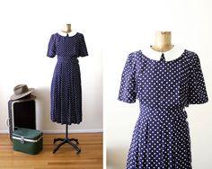 polka dot dress  blue maxi dress  peter pan collar by MILKTEETHS