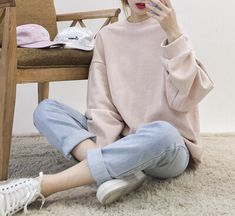 Cute fashion! love oversize | love pastels | love red lips • check out: http://weheartit.com/entry/229387680