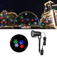 Outdoor Décor-Jeteven Christmas Projector Lights Waterproof Colorful Snowflake LED Light Outdoor for Xmas Holiday Party Landscape Patio Lawn Stage Show Decoration -- Check this awesome product by going to the link at the image.