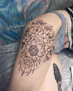 Linework Mandala and Peony blackwork flower tattoo. Blackwork flower tattoos are mysterious, dark and sexy.We have found the most stunning ones recently made and you are going to love them!