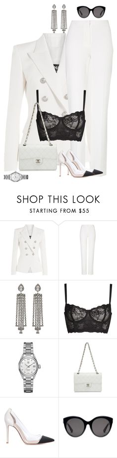 """""""Untitled #4035"""" by saskiasnow ❤ liked on Polyvore featuring Balmain, ESCADA, DANNIJO, Naja, TAG Heuer, Chanel, Gianvito Rossi and Gucci"""