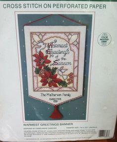 Warmest Greetings Banner Cross Stitch Kit Paper NO NEEDLE 8x13 Sunset 18307 New #Sunset
