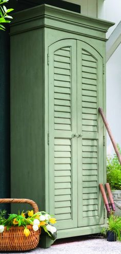 Paula Deen Home Utility Cabinet, Spanish Moss - Free Standing Cabinets Available in Linen, Seat Oat, Spanish Moss