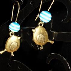 Boucles d'oreilles dormeuse bronze oiseau bleu