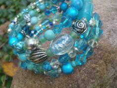 Turquoise Jewelry Bead Bracelet Turquoise Beaded Cuff Memory Bracelet