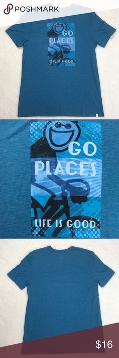 Life Is Good - Go Places Blue Jake Bike Cool Tee Life Is Good - Go Places Blue Jake Bike Cool Graphic Tee  Size Medium, 50% Cotton and 50% Polyester   Short Sleeve Shirt  Good Used Condition! Light wear and pilling.   Smoke free home Life Is Good Shirts Tees - Short Sleeve
