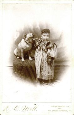 Cute Boy In Outrageous Dress and his Chubby Pug Dog ~ Vintage Cabinet Photo Pug Photos, Photos With Dog, Pug Pictures, Animal Pictures, Time Pictures, Dogs And Kids, Animals For Kids, Animals And Pets, Old Pug