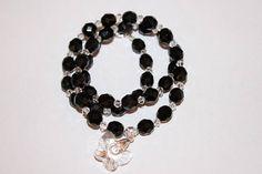 Collier de perles à facette cristal de swarovski et argent